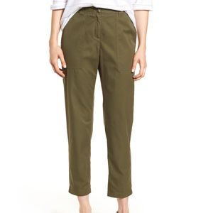 Nordstrom Signature Green Patch Pocket Ankle Pants